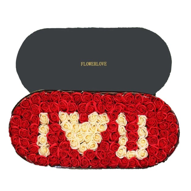 商品详情 - 海厄辛思 永生花i love u 黑盒系列 红白香皂玫瑰花 母亲节情人节礼物 - image  0