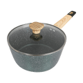 Art of Cooking 3Qt Granite Nonstick Coated Cast Aluminum Pot with Lid Saucepan Induction Compatible Forest Green
