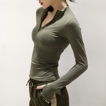 浪莎运动上衣女薄款性感紧身瑜伽服跑步秋冬健身衣吸汗透气长袖绿色L码