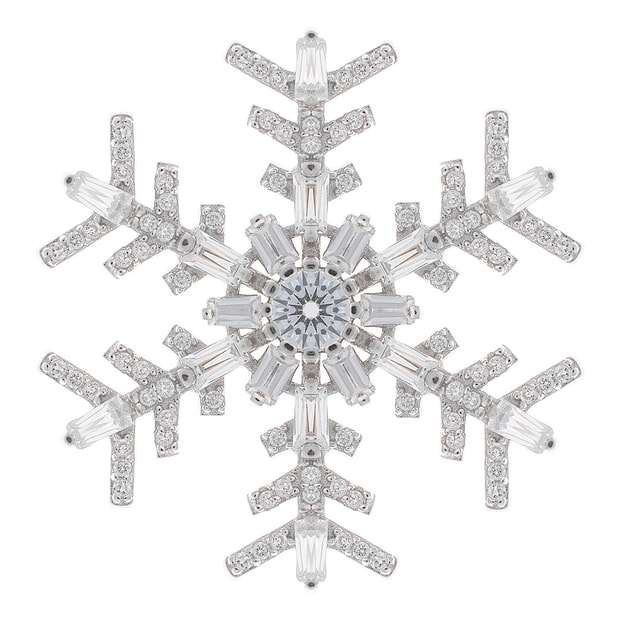 Product Detail - DE YEEN Classic Snowflake Brooch #White 1pc - image 0