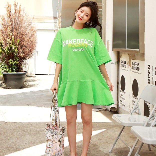 SUMPARTY Flare Sweatshirt Dress #Green One Size(Free)