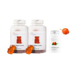 UNICHI Rose Collagen Gummy 60 Gummies 2 Pack+ Rosehip Extract Complex 60 capsules 1pack