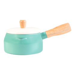 Multi Function Japanese Style Double Layer Milk Pot Saucepan with Lid Induction Ready 14cm Emerald Green