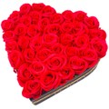 HYACINTH创意开窗永生花爱心花盒 红色香皂花表白礼物 送女友(永生花为定制产品不支持退货!介意者慎拍)