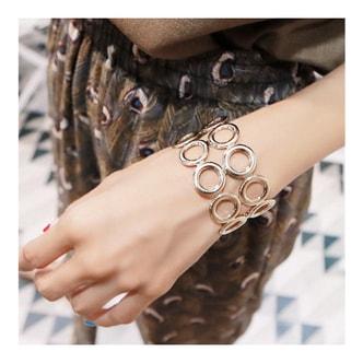 韩国MAGZERO 时尚不锈钢双排圆扣手镯 #金色