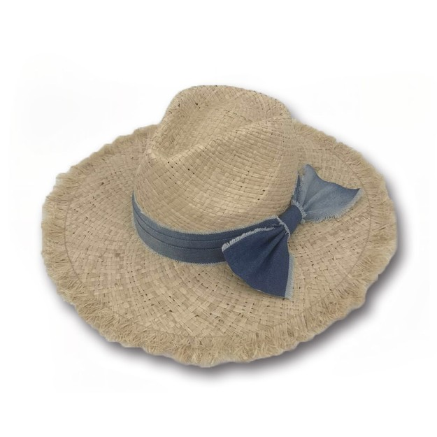Product Detail - ACCESS HEADWEAR Wide Brim 100% Raffia Summer Fedora Cowboy Bow-knot Hat Women#Beige One Size - image 0
