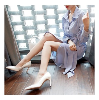 MAGZERO [2018 S/S New] Belted Shirt Dress #Blue Stripes One Size(Free)