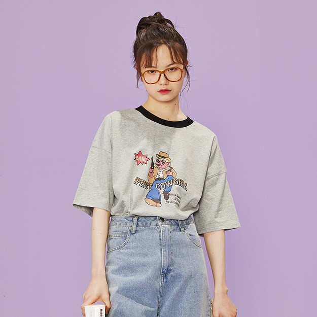 商品详情 - 西部牛仔女孩大版宽松T恤 灰色  - L - image  0
