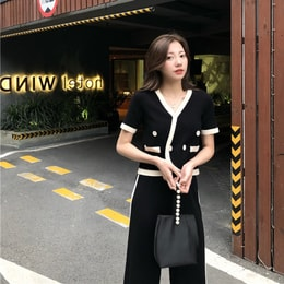 PRINSTORY 2019 Spring/Summer Elegant Knitting Set Black/S