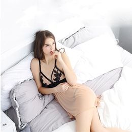 YINGNI Sexy Transparent Lace Sleepwear Dress