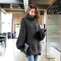 WINGS Oversized Turtleneck Sweater #Charcoal One Size(Free)