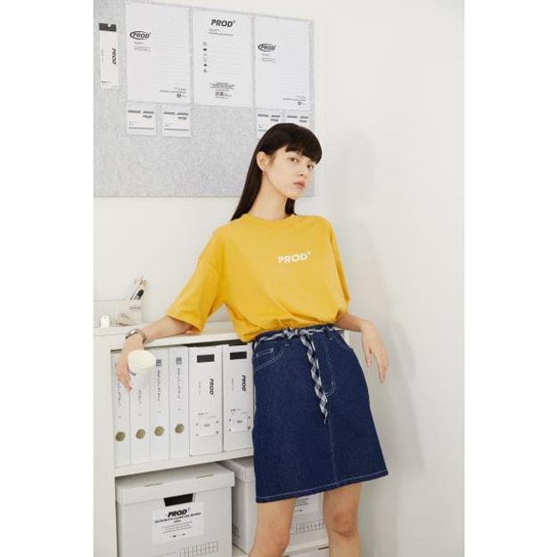 商品详情 - PROD春夏新款潮简约logo宽松薄款短袖T恤 黄色 - M - image  0