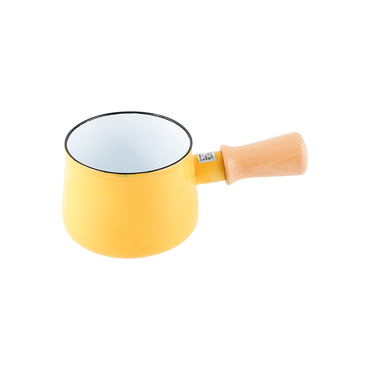 日本 Pearl Metal パール金属 家用木柄搪瓷迷你牛奶锅小汤锅 10cm 黄色