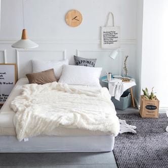 QBEDDING Faux Fur Sherpa Reversible Sofa Throw #White