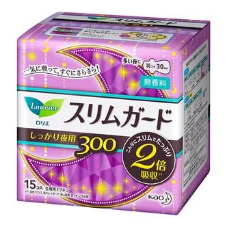 日本KAO花王 LAURIER乐而雅 零触感无荧光剂轻薄护翼卫生巾 夜用型 30cm 15枚入