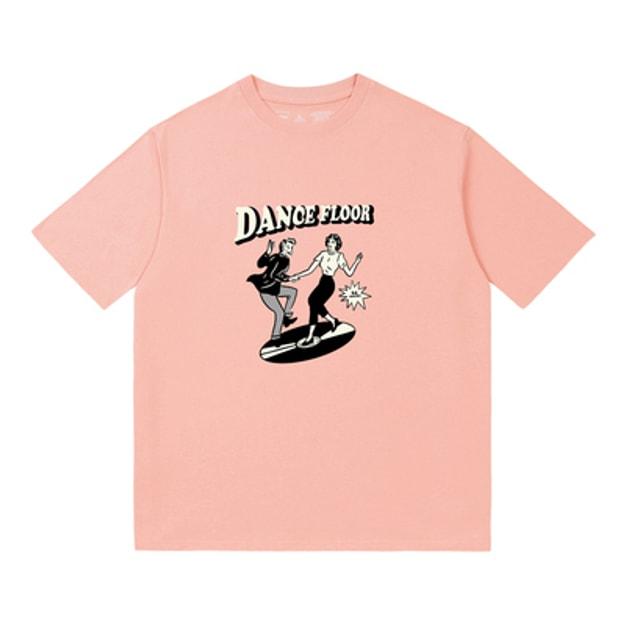 商品详情 - PROD原创趣味双人舞印花纯棉短袖T恤 粉色 -XS - image  0
