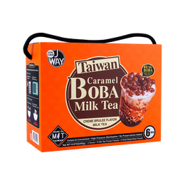 Taiwan Caramel Bubble Tea (6 Straws + 6 Milk Tea Powder + 6 Shelf-Stable Boba) 6 Packets Gift Set