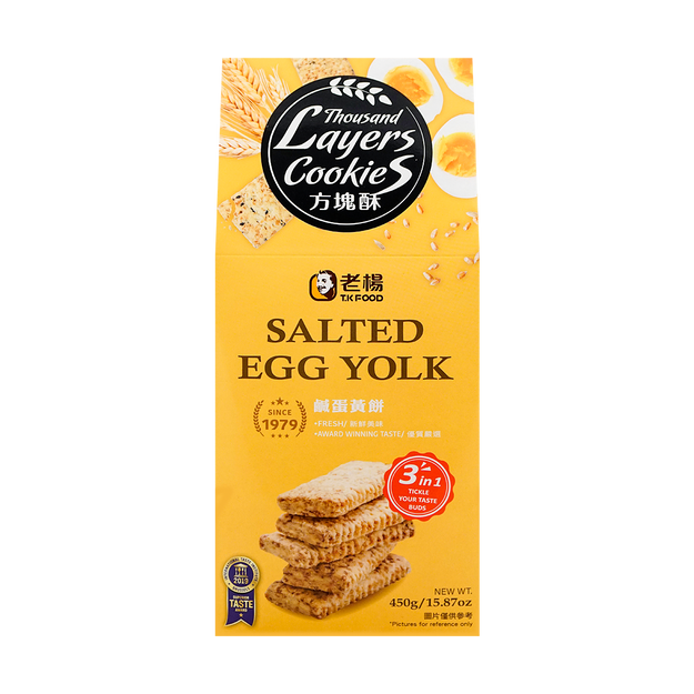 Product Detail - TKFOOD 3 in 1 Thousand Layers Cookies Salted Egg Yolk Salted Sesame Salted Peanut  450g - image 0