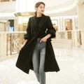 Belted Puff Sleeve Long Coat #Black One Size(S-M)