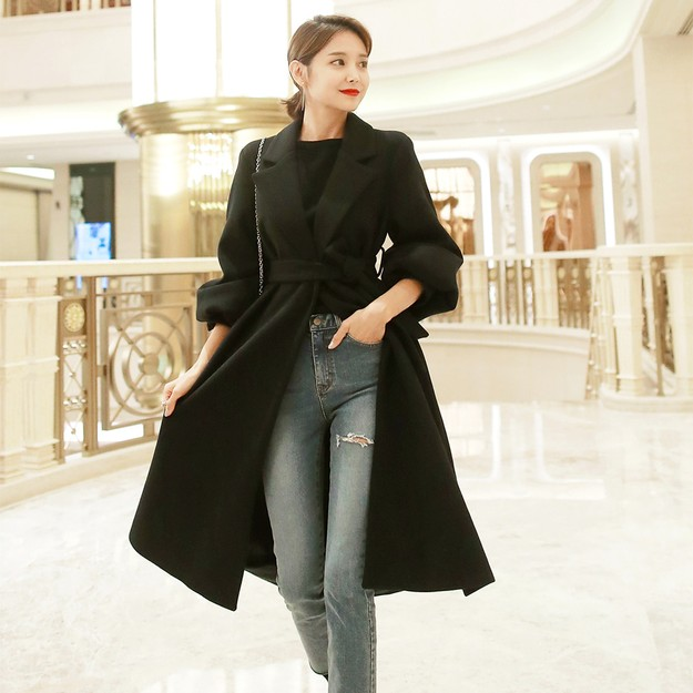 Product Detail - Belted Puff Sleeve Long Coat #Black One Size(S-M) - image 0