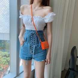 PRINSTORY 2019 Spring/Summer High-waist Wrap-up Denim Shorts S
