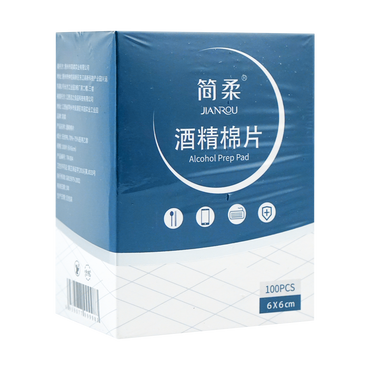 JIANROU Alcohol-Prep-Pads 75% Alcohol Large Size 100 Pieces/box (6*6cm)