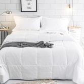 QBEDDING Pure White All Season Down Alternative Comforter + Pillow Shams King Size