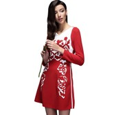 BIRRYSHOP Long sleeve slim print dress  red  S