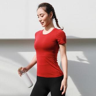 暴走的萝莉 运动T恤女圆领轻透春季 健身跑步短袖纯色速干百搭上衣/大红/S
