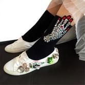 独角定制 原宿风潮袜女 趣味手掌贴布袜子 黑色 1双