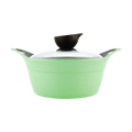 Nonstick Ceramic Coating Stockpot with Silicone Handle Glass Lid Included 8in #Apple Green 2.4L