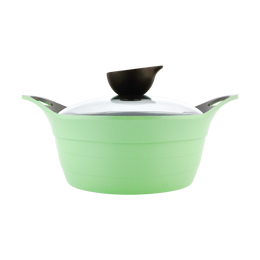 NEOFLAM Nonstick Ceramic Coating Stockpot with Silicone Handle Glass Lid Included 8in #Apple Green 2.4L