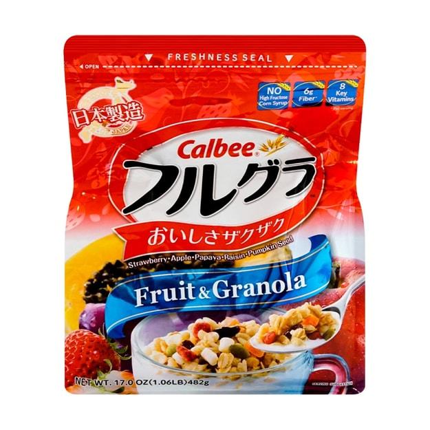 商品详情 - 日本CALBEE卡乐比 营养水果谷物麦片 原味 482g 即食冲饮代餐 - image  0