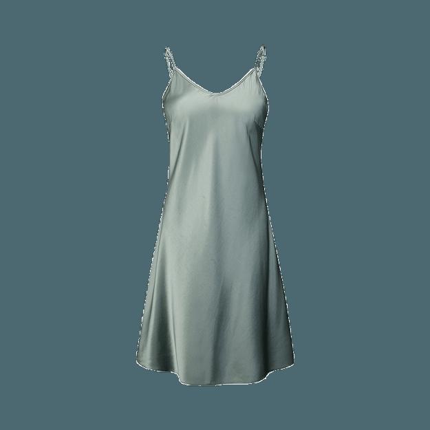 商品详情 - 网易严选 女式弹力真丝系列经典吊带睡裙 灰豆绿*XL - image  0