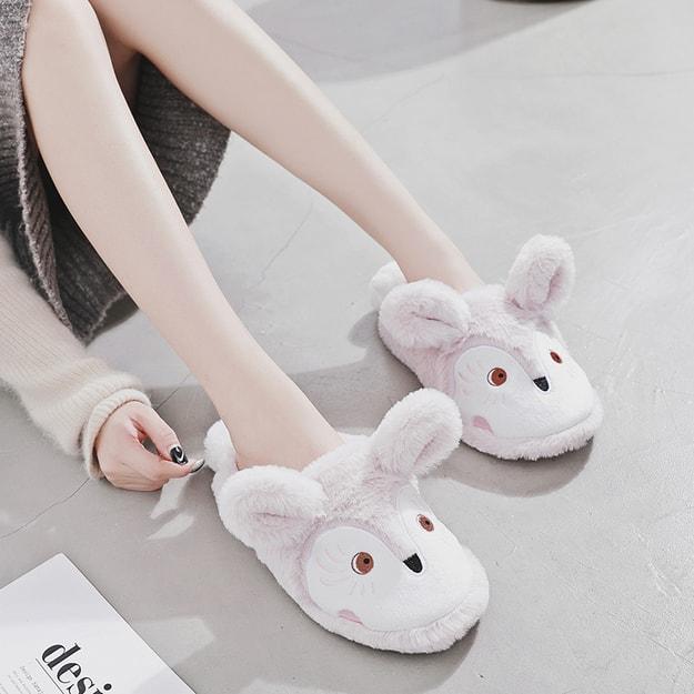 商品详情 - PREMIUM DOWN 害羞眼影小狐狸小兔绒橡胶底保暖棉室内家具拖鞋 36-37 - image  0