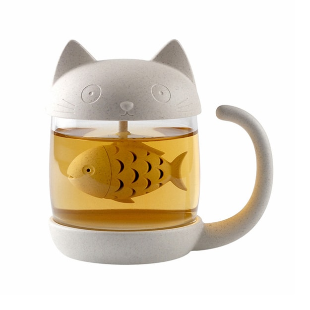 TIMESWOOD Creative Cute Cat Glass Milk Mug Cartoon Tea Mug With Infuser Office Coffee Tumbler Breakfast Mugs Cat 1pc