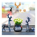 RAMBLE Car Ornaments Cute Deer Resin Crafts Table Decoration Home Auto Interior Supplies Dual Deers+Flower+Mat All 1 set
