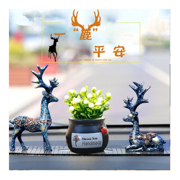 Product Detail - RAMBLE Car Ornaments Cute Deer Resin Crafts Table Decoration Home Auto Interior Supplies Dual Deers+Flower+Mat All 1 set - image 0