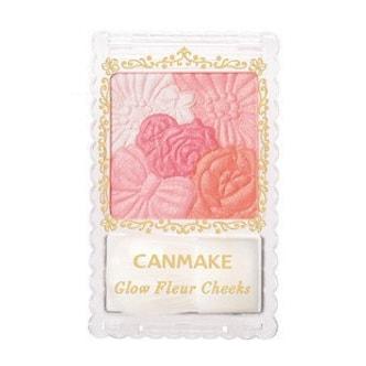 日本CANMAKE 花瓣雕刻五色腮红附刷 #02珠光杏色芙蓉 COSME大赏受赏