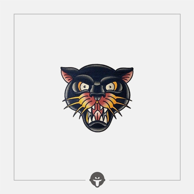 @BECOME Original Tattoo Stickers A roaring Panther Three Piece