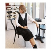 MAGZERO [Limited Quantity Sale] Deep V-Neck Ribbed Knit Dress and Long Sleeve T-Shirt 2 pieces Black&White One Size(S-M)