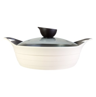 NEOFLAM Nonstick Ceramic Coating Low Stockpot with Silicone Handle Glass Lid Included 10