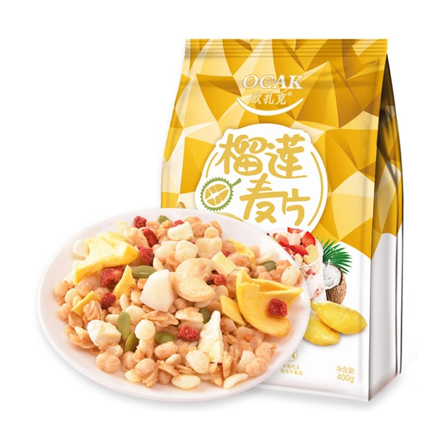 Product Detail - OCAK Durian Nuts Dry Snack Eat Fruit Cereal Meal Replacement Oatmeal 400g - image 0
