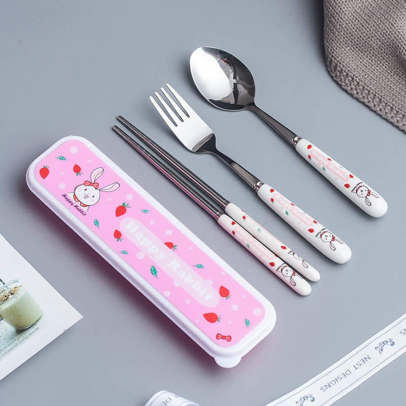 Yamibuy.com:Customer reviews:Reusable Travel Stainless Steel Utensil Set with Carry Box 3pcs Fork Spoon Chopsticks #Happy Rabbit