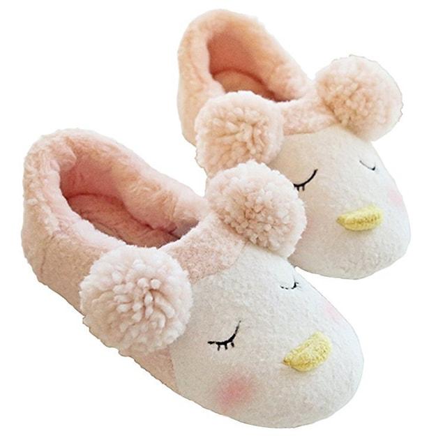商品详情 - Premium Down雪花绒企鹅情侣家居棉拖鞋 粉色36-37码 - image  0