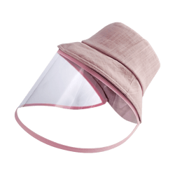 [Face Coverage] Sun Protection Fashion Hat with Detachable Transparent Face Cover #Hot Pink