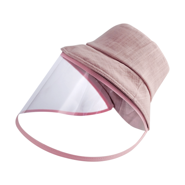 Product Detail - [Face Coverage] Sun Protection Fashion Hat with Detachable Transparent Face Cover #Hot Pink - image 0