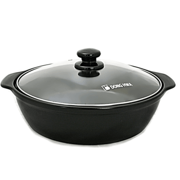 DONG HWA Ceramic Casserole Earthen Pot with Glass Lid 3.05L