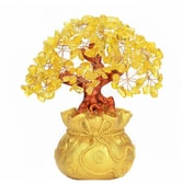 INKWASH Feng Shui Money Tree with Natural Yellow Crystal
