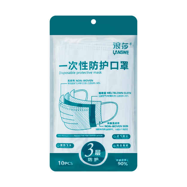 Product Detail - LANSWE Disposable protective mask 3 layers  Anti-bacterial≥90% 10 pieces - image 0